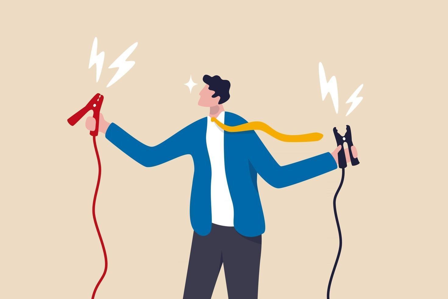 démarrez votre carrière, stimulez ou rechargez la motivation, le coaching ou le mentorat pour gagner un concept cible d'entreprise, un homme d'affaires joyeux tenant un cavalier de batterie à haute énergie prêt à démarrer l'employé. vecteur