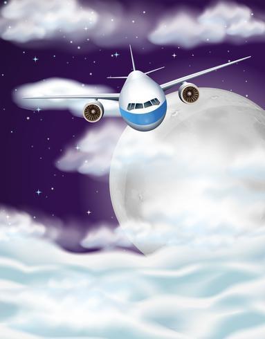 Avion volant dans le ciel pendant la nuit vecteur