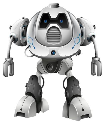 Robot aux yeux bleus sur fond blanc vecteur
