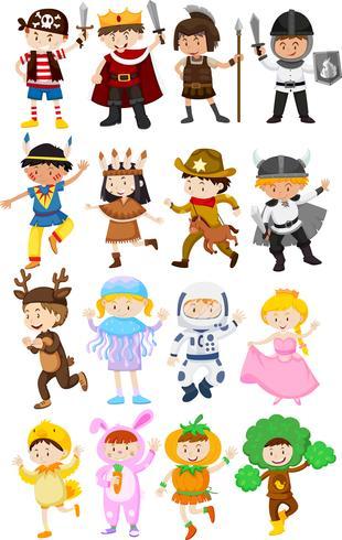 Enfants en costumes différents vecteur