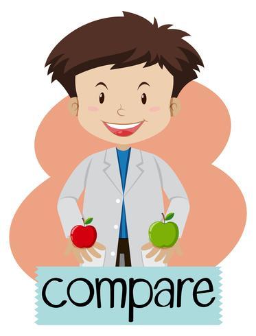 Wordcard à comparer avec un garçon tenant des pommes vecteur