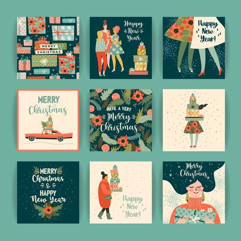 Modèles de Noël et bonne année. Style rétro branché. vecteur