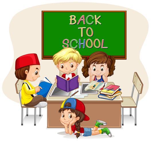 Enfants faisant des travaux scolaires en classe vecteur