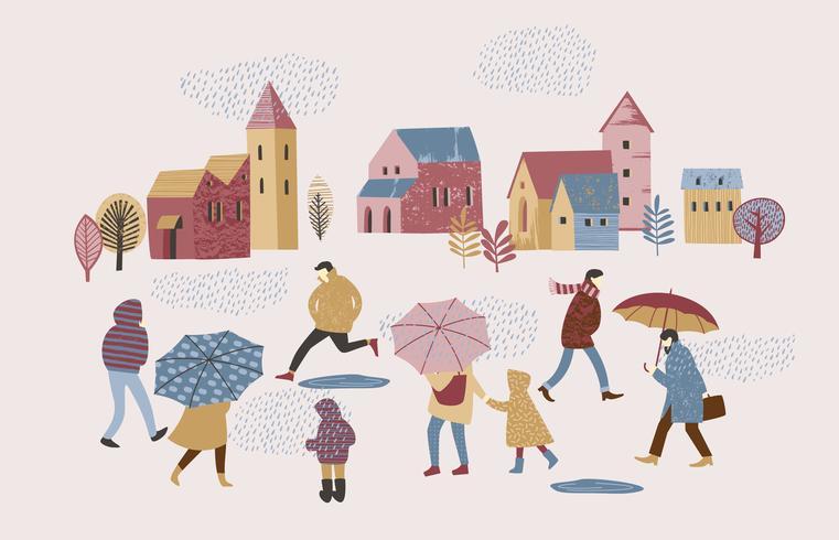 Illustration vectorielle de personnes sous la pluie. Humeur d'automne. vecteur