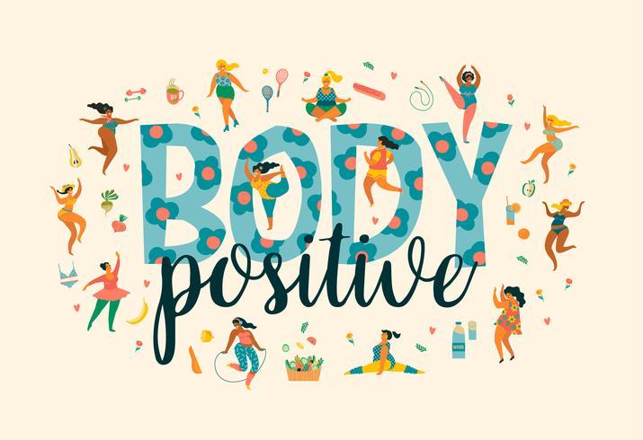 Corps positif. Happy Plus Size Girls et mode de vie sain et actif. vecteur