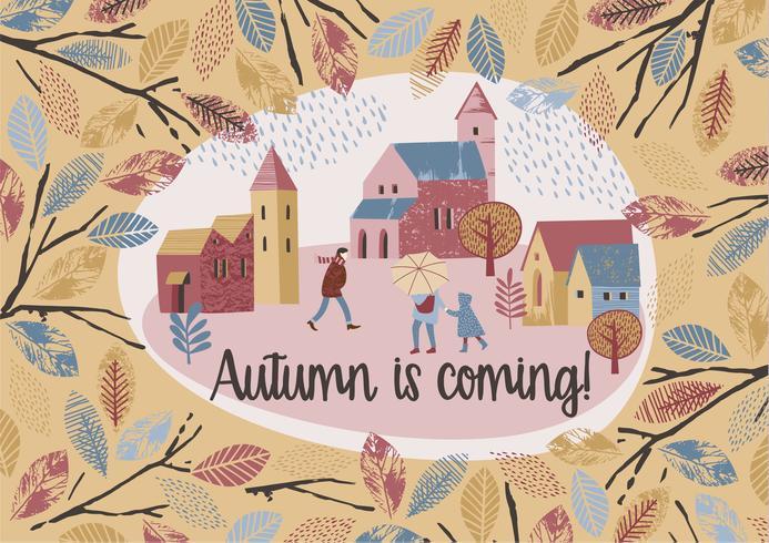 Conception de l'automne. Vecteur temlate.