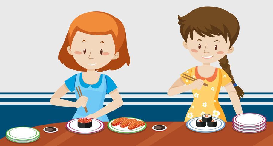 Filles, manger, sushi japonais vecteur