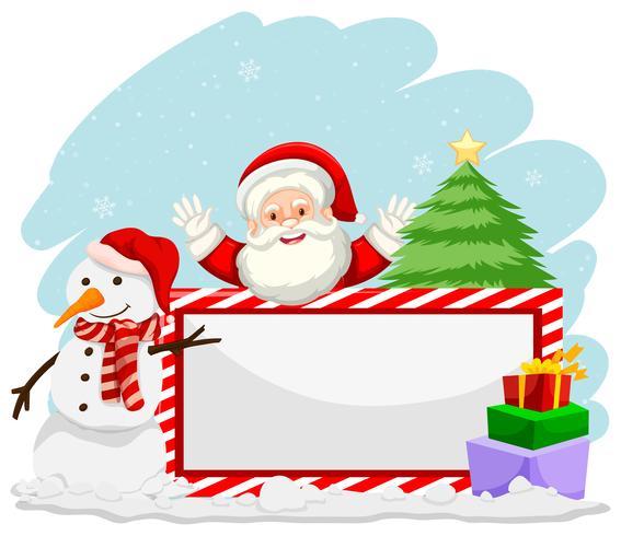 Noël d'hiver avec bannière de santa vecteur