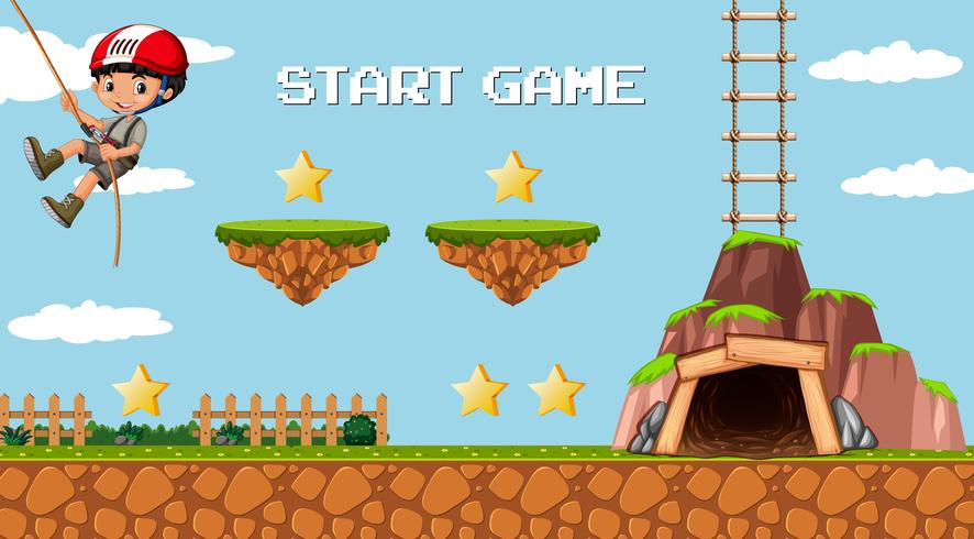 Modèle de jeu d'exploration minière avec un personnage de garçon vecteur