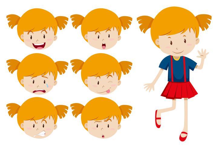 Jolie fille avec des expressions faciales vecteur