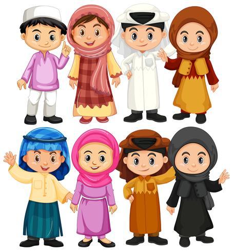 Ensemble de caractères arabes et musulmans vecteur