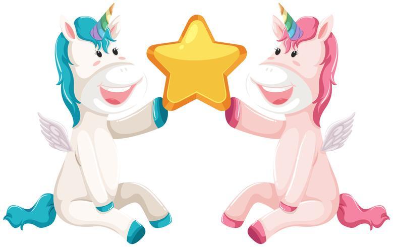 Deux étoiles licorne vecteur