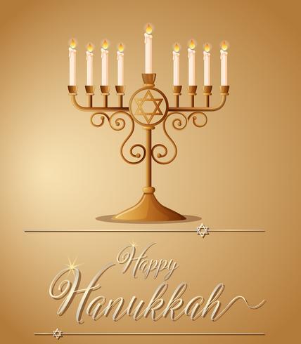 Hanukkah heureuse avec symbole juif et lumière vecteur