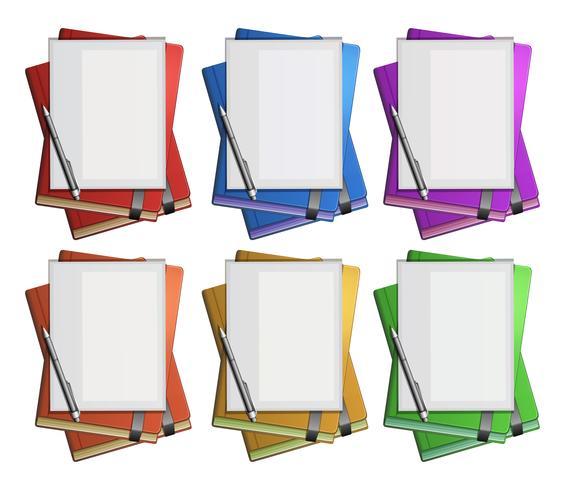 Papier vierge sur des livres de couleurs différentes vecteur