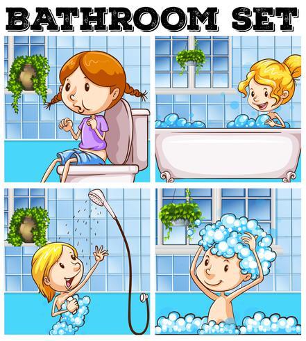 Filles dans salle de bain et toilette vecteur
