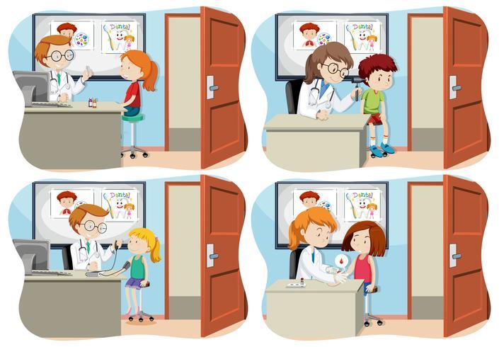 Un ensemble d'enfants et de soins médicaux vecteur