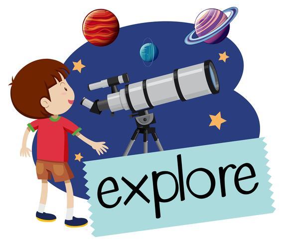 Un garçon heureux avec le télescope vecteur