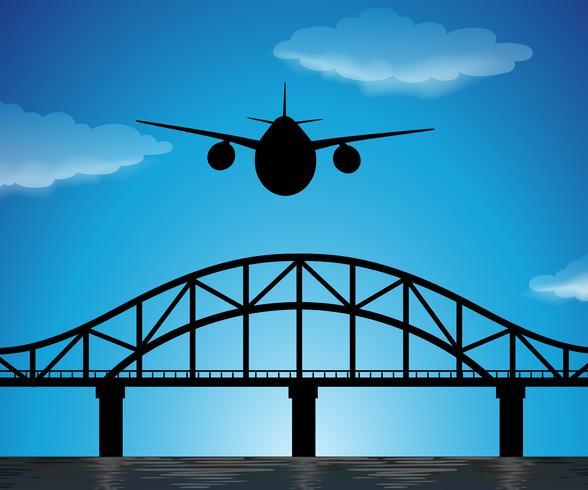 Scène de silhouette avec avion volant dans le ciel bleu vecteur