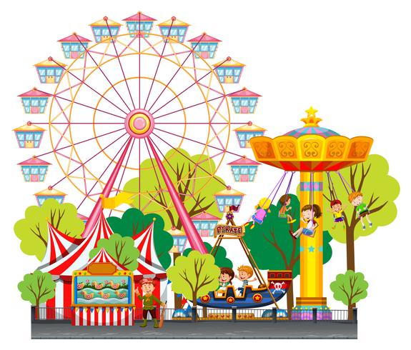 Enfants s'amusant au cirque vecteur