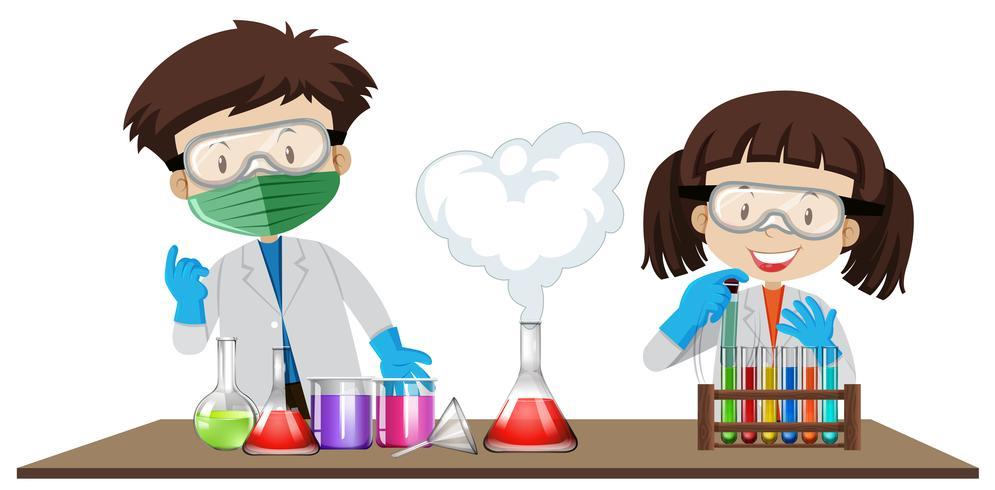 Expérience étudiante en classe de laboratoire vecteur