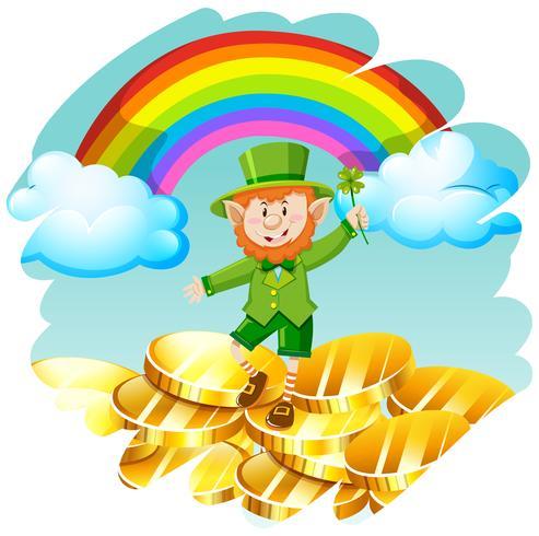 Leprechaun avec des pièces d'or et arc-en-ciel vecteur