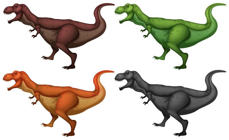 Dinosaure en quatre couleurs vecteur