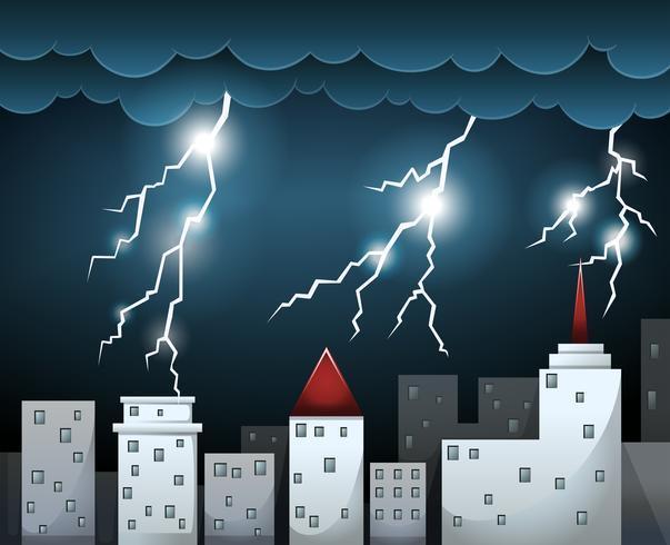 Orage et nuages sombres sur la ville vecteur