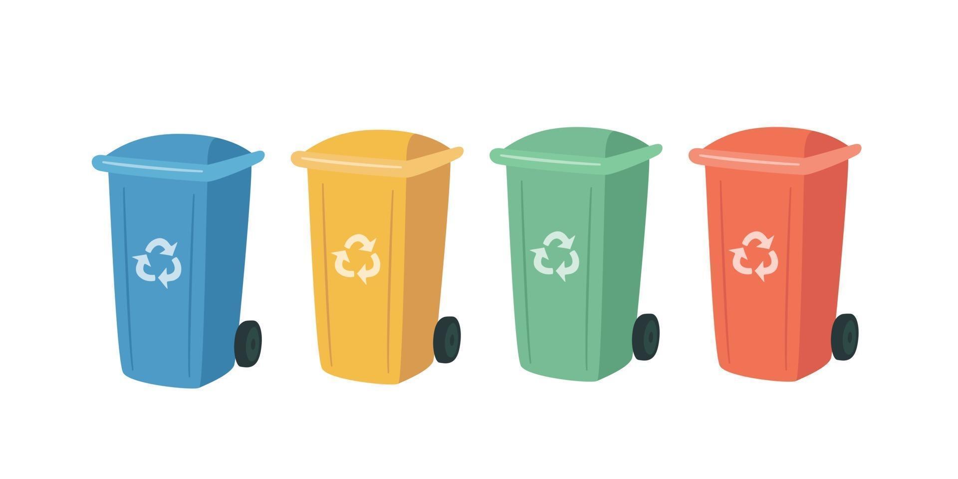 conteneurs pour le recyclage des déchets de tri. poubelles colorées 2982296 - Telecharger Vectoriel Gratuit, Clipart Graphique, Vecteur Dessins et Pictogramme Gratuit
