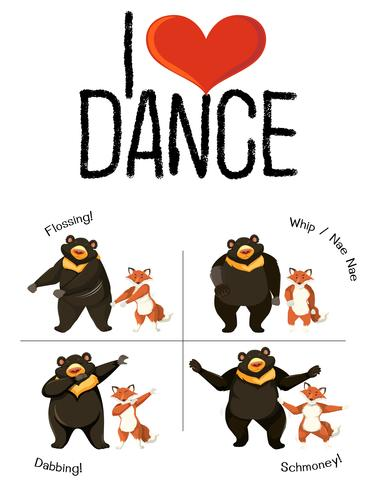 J'adore le concept de danse animal danse vecteur