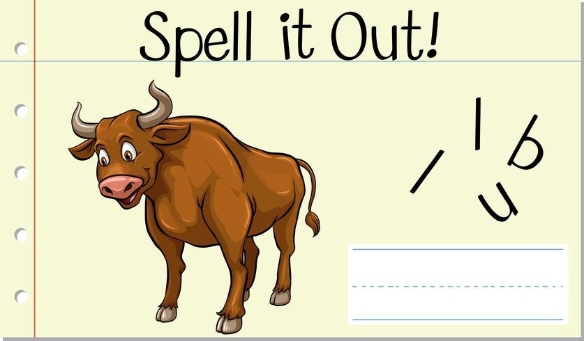 Épeler mot anglais taureau vecteur