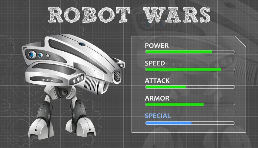 Conception de robot moderne avec panneau de fonctions vecteur