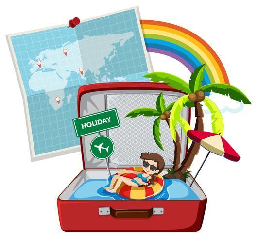 Vacances d'été sur la valise vecteur