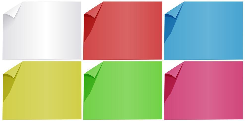 Papiers vierges en six couleurs vecteur