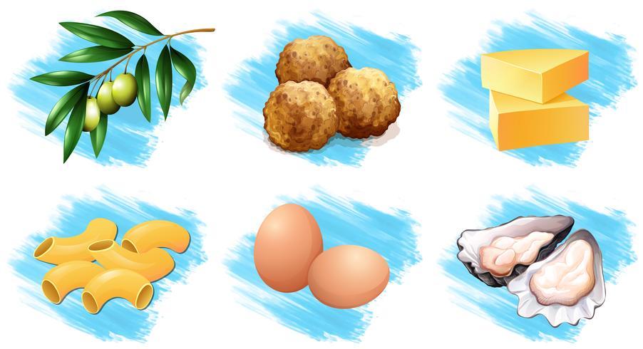 Différents types d'ingrédients alimentaires vecteur