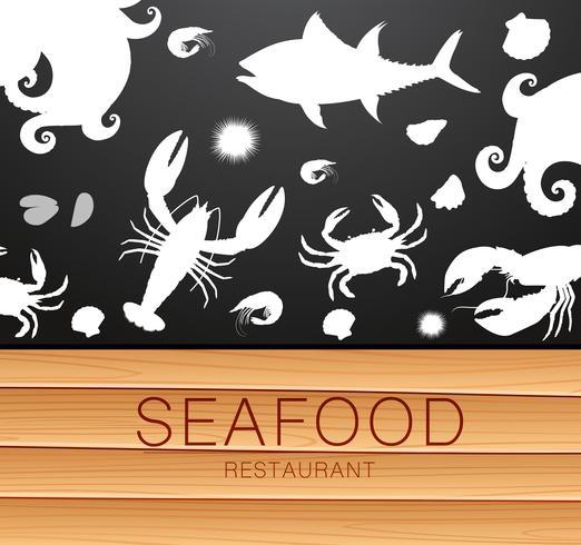 Modèle de silhouette de fruits de mer frais vecteur