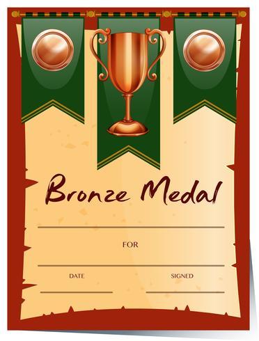 Certificat de conception pour la médaille de bronze vecteur