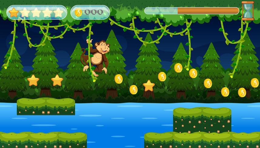 Un jeu de saut de singe dans la jungle vecteur