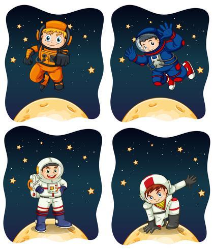 Astronaunts voler dans l'espace vecteur