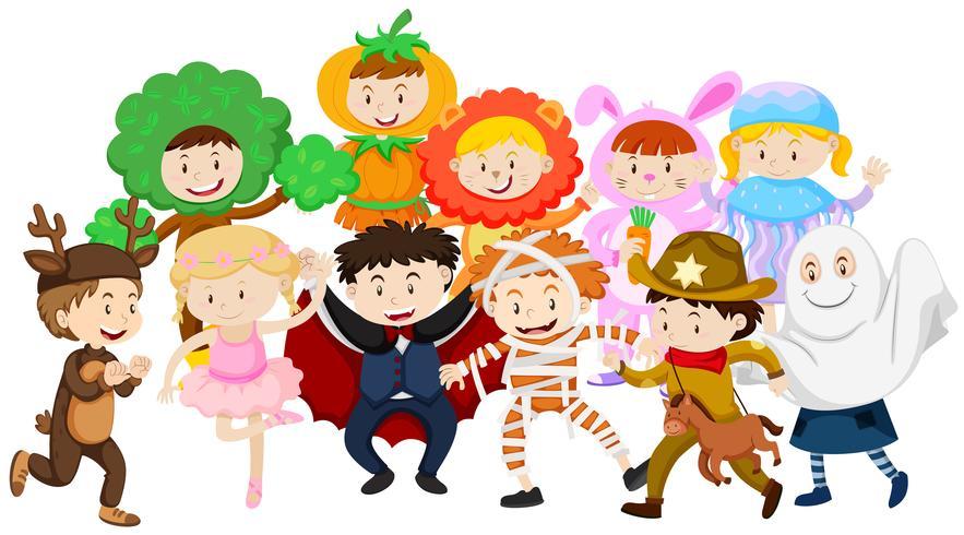 Enfants s'habiller dans des costumes différents vecteur