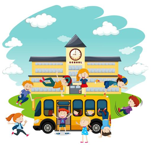 Enfants jouant devant l'école et le bus vecteur