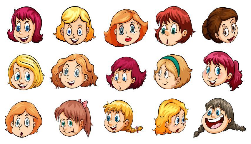 Dames avec des expressions différentes vecteur