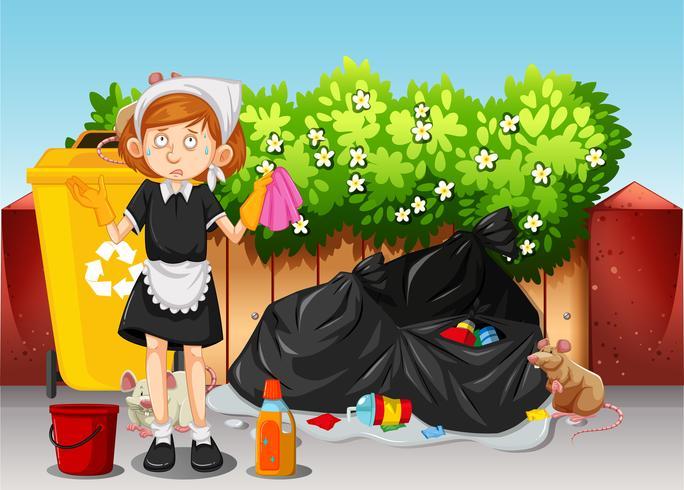 Une femme de ménage nettoyant la zone sale vecteur