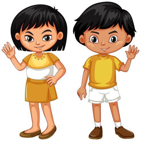 Garçon et fille en agitant les mains vecteur