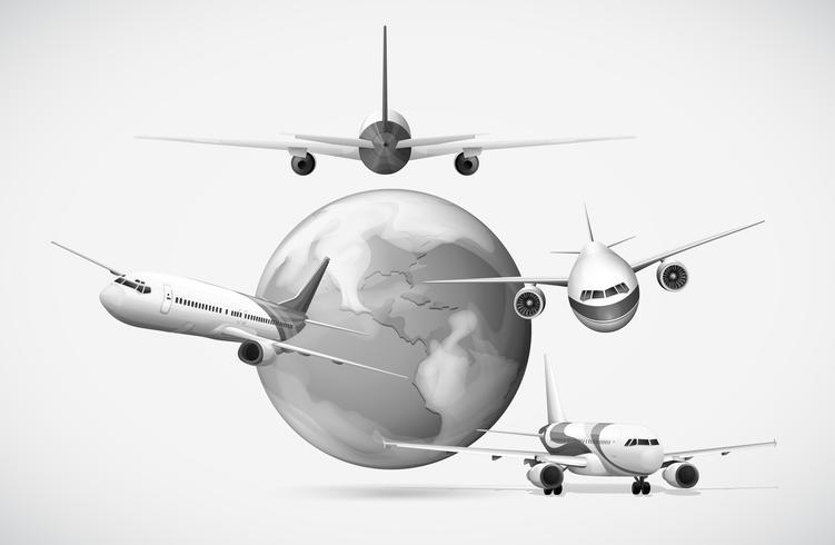 Avions volant autour de la terre en niveaux de gris vecteur