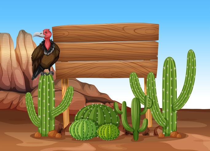Panneau en bois avec cactus et vautour vecteur