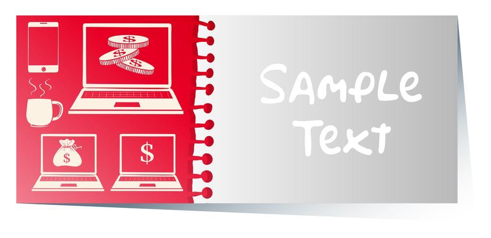 Modèle de carte avec des ordinateurs sur fond rouge vecteur