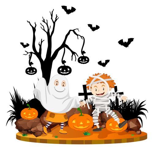 Scène d'Halloween avec des enfants en costume vecteur