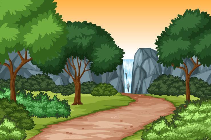 Fond scénique de nature cascade vecteur