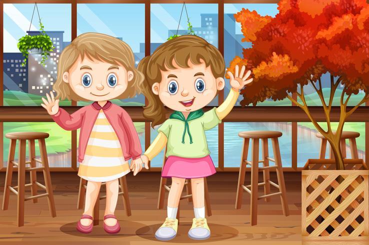 Deux filles heureuse au restaurant vecteur