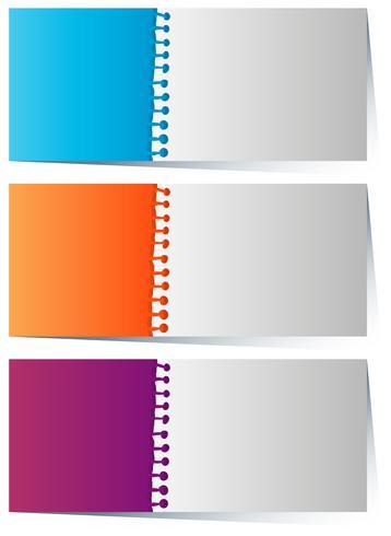 Modèle d'étiquette en trois couleurs vecteur
